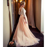 Long Sleeves A Line Blush pink bridal dress Lace Open Back Sexy Beautiful garden country Wedding Dress Wedding Gown
