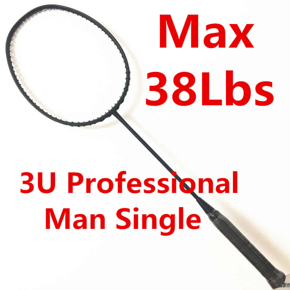 Stiff black racket Max 38Lbs made of H.M Graphite Men Single badminton racket 3U raqueta padel racket badminton string raquete