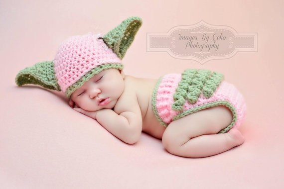 9d88b05d10f Baby Yoda Hat   Diaper Cover SET Star Wars Hat Newborn Girls Crochet Baby  Clothes Newborn Photography Props