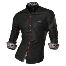 Jeansian Mens Fashion Dress Casual Shirts Button Down Long Sleeve Slim Fit Designer Z027 Black2