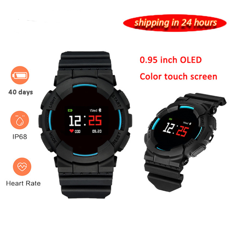 2018 Model X 0.96 inch Wireless Bluetooth4.0 Smart Bracelet Heart Rate Monitor IP68 Waterproof Fitness Bracelet Smart Watch Men