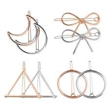 8pcs New Fashion Women Girl Gold Silver Plated Metal Triangle Circle Moon Hair Clips Bow Circle Hairpins Holder Hair Accessories недорого