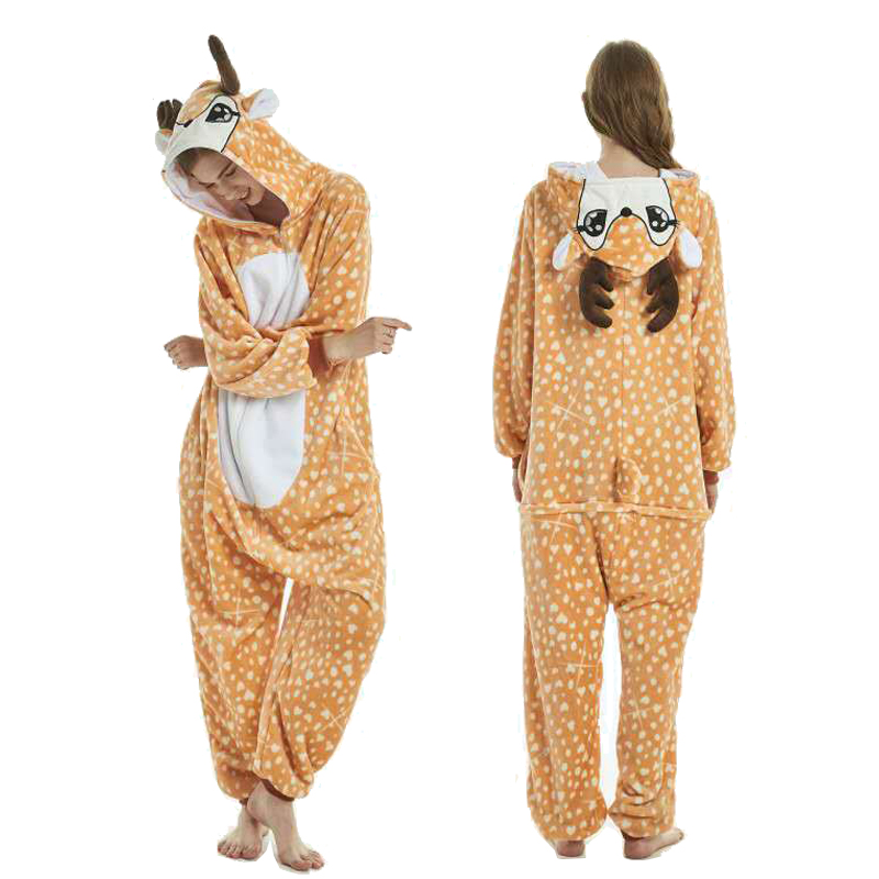 Winter Animal Pajamas Deer Stitch Sleepwear Unicorn Pajamas Onesie Sets Kigurumi Women Men Unisex Adult Flannel Nightie Overalls