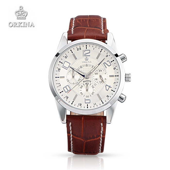 ФОТО Orkina Watches Luxury Brand Leather Quartz Men and Women Wristwatches Valentine's Day Gift For Men and Women