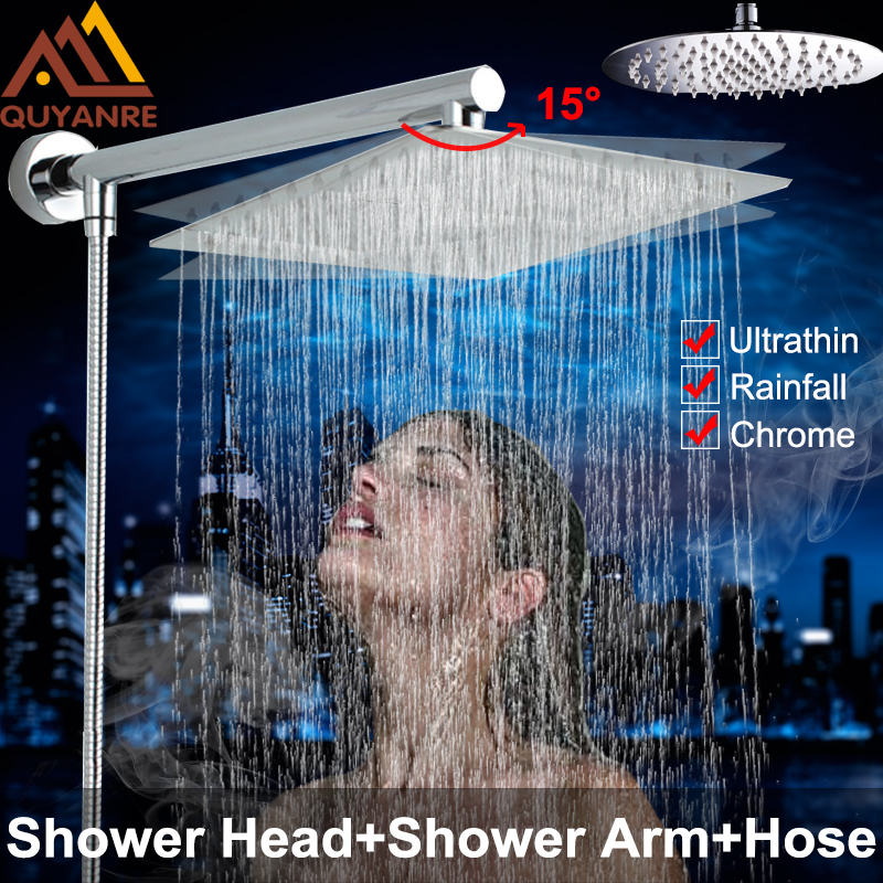 Quyanre Shower Set Faucets Chrome Ultrathin Stainless Steel Rainfall 8