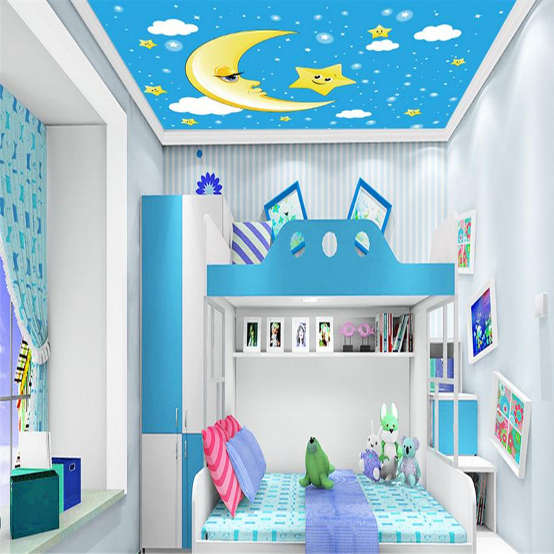 modern custom 3d minimalist wallpaper stereoscopic kid room large background ceiling wall mural moon star wallpaper for kid room pure green mountain art wallpaper mural on the wall for kid s room wallpaper nursery room wall decor free shipping