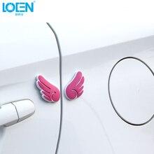 4 шт./лот, универсальная Силиконовая Защитная Наклейка в форме крыла для автомобиля, боковой край двери, хвост, защита всего тела, белый, черный, розовый, серый