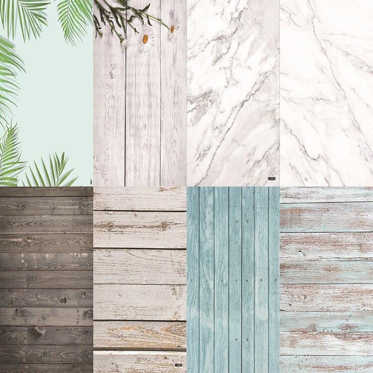 Estúdio de fotos 58x86 cm 2 lados 80 cores pvc fotografia backdrops impressão de madeira à prova dwaterproof água fundo de mármore para câmera foto