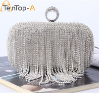 Elegant Evening Bag Lady S Tassel Finger Ring Rhinestone Silver Clutch Bags For Wedding Party Dinner