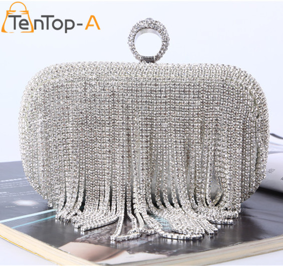 ФОТО TenTop-A Elegant Evening Bag Lady's Tassel Finger Ring Rhinestone Silver Clutch Bags for Wedding Party Dinner Hard Shoulder bag