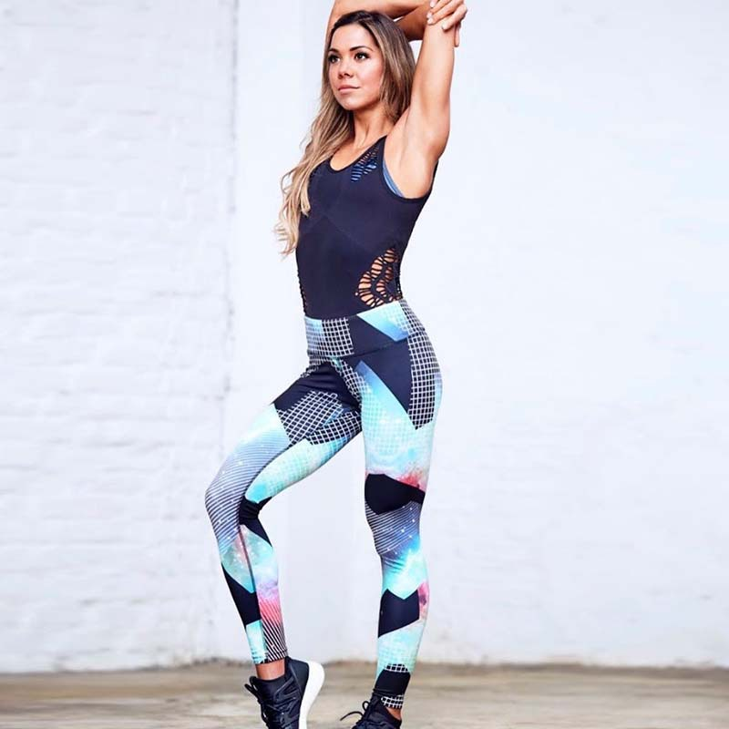 2017 New Slim Women Fitness Leggings Quick Drying Breathable Geometric Printed Sporting Leggins Sexy Push Up Workout Leggings
