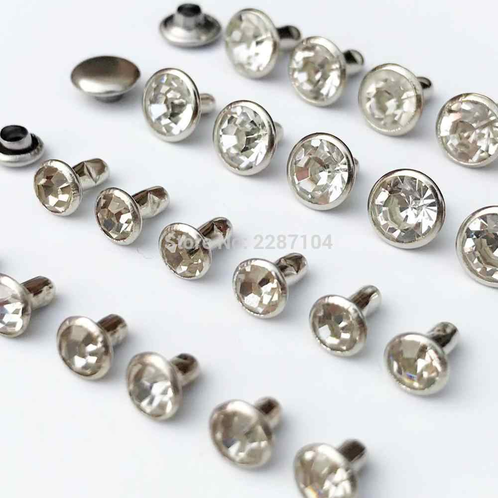 50sets Metal Brass Silver Clear CZ Crystal Rhinestone Rapid Rivet 6/8mm Leather Bag Shoe Clothes Round Decor Diamond Stud Spot