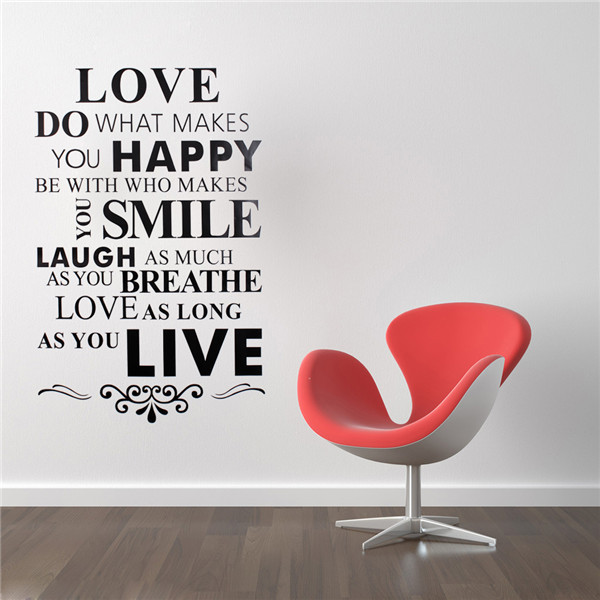 New Fashion English Characters Love Happy Smile Live Quote Removable
