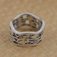 Thai silver wholesale S990 fine silver ring antique jewelry matte process double hollow goldfish one generation