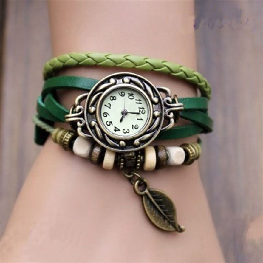 OTOKY Fashion Leather Bracelet Watch Women Casual Dress Vintage Leaf Beads Wristwatch Luxury Quartz women Watch A30(China)