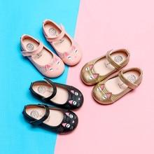 Милые кожаные тонкие туфли с рисунком кота для маленьких девочек; детская обувь принцессы; Calzado para nios