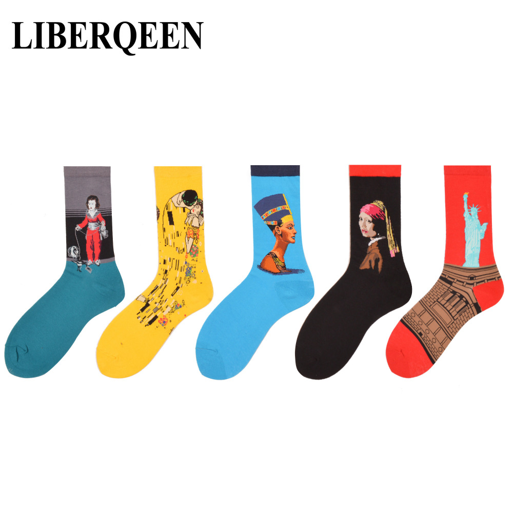 LIBERQEEN 5 pairs/lot Mens Funny Socks Painting Red Statue of Liberty Yellow Kiss Klimt Combed Cotton Novelty Socks size 7.5-10