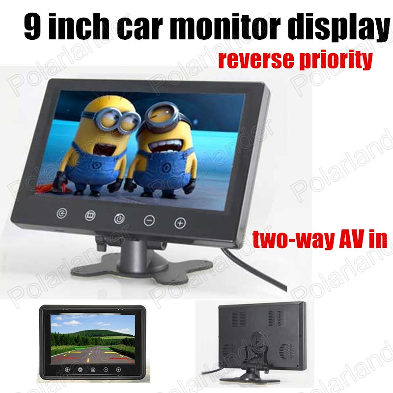 ФОТО 9 inch TFT LCD Color Car Monitor With Widescreen Support 2CH Video Input For Rear View Camera reverse priority