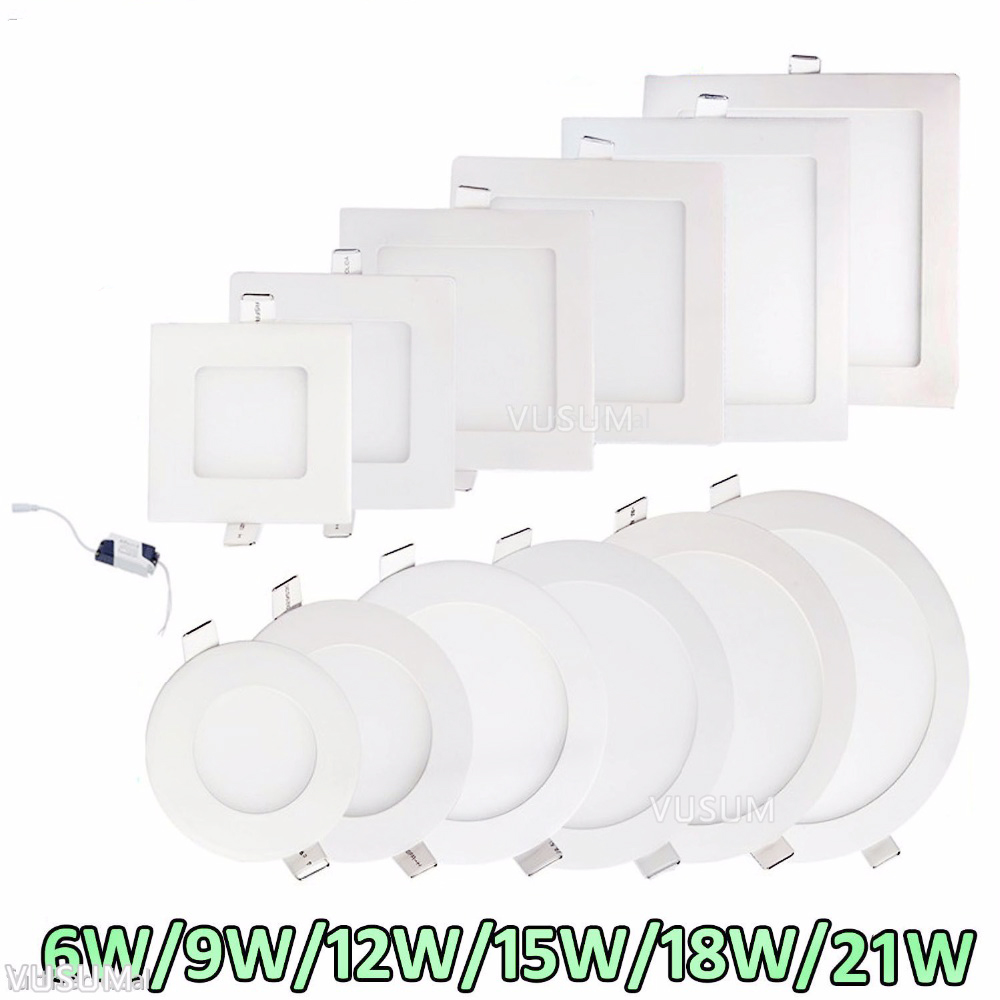 Ultra Thin LED Panel Lights  Recessed LED Ceiling Light Spot Down Light With Driver AC85-265V Warm White/Natural White/Cold Whit