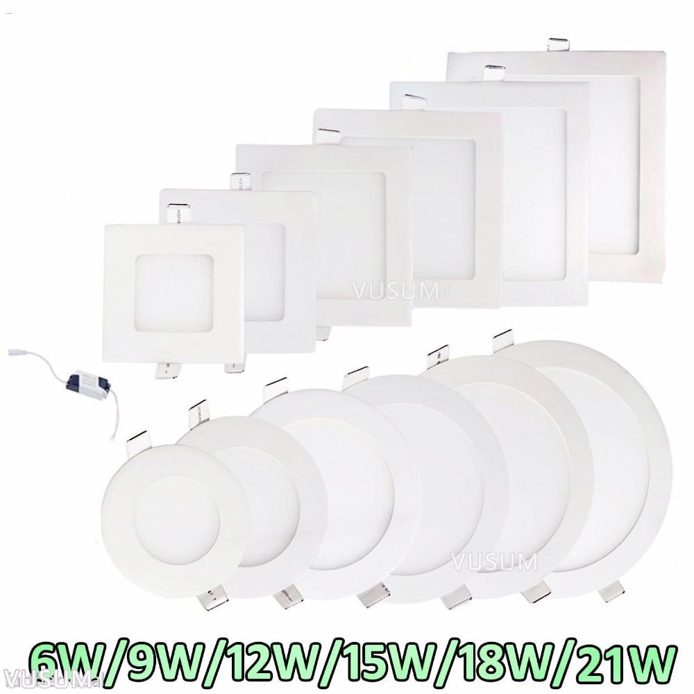 Ультратонкая светодиодная панель s, встраивасветодиодный потолочная лампа, точесветильник светильник с драйвером, теплый белый/натуральны...