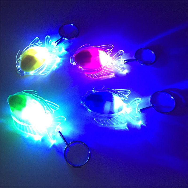Mini Fish LED Light-Up Toys Keychain Party Favors Kids Toy Gift Gadgets Bag Pendant