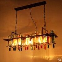 Ретро творческий ресторан подвесной светильник прямоугольный висит цепь стеклянная бутылка стойки персонализированные бар E27 лампы освещ