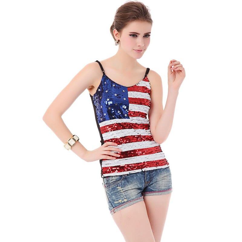 f58e4d965 BLINGSTORY أنيقة الصيف أمريكا العلم شىء صغير براق الدبابات للمساء النادي  كاميس مثير المرأة سترة دروبشيبينغ