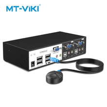MT-Viki USB KVM Switch 2 Port VGA Switcher Hotkey Verdrahtete Fernbedienung mit Audio Mic Original Kabel Power adapter MT-0201VK mt power se 16