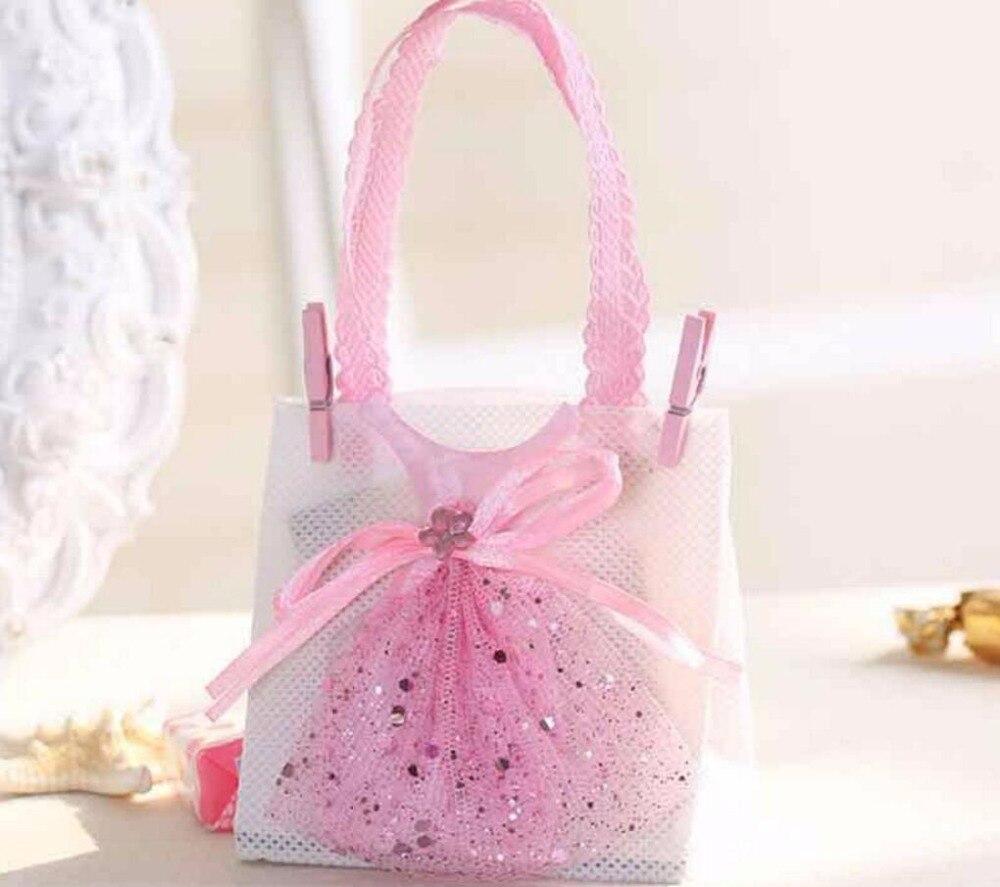 60pcs Non woven Fabrics Handbag with Dress Candy Chocolate Box Bag ...