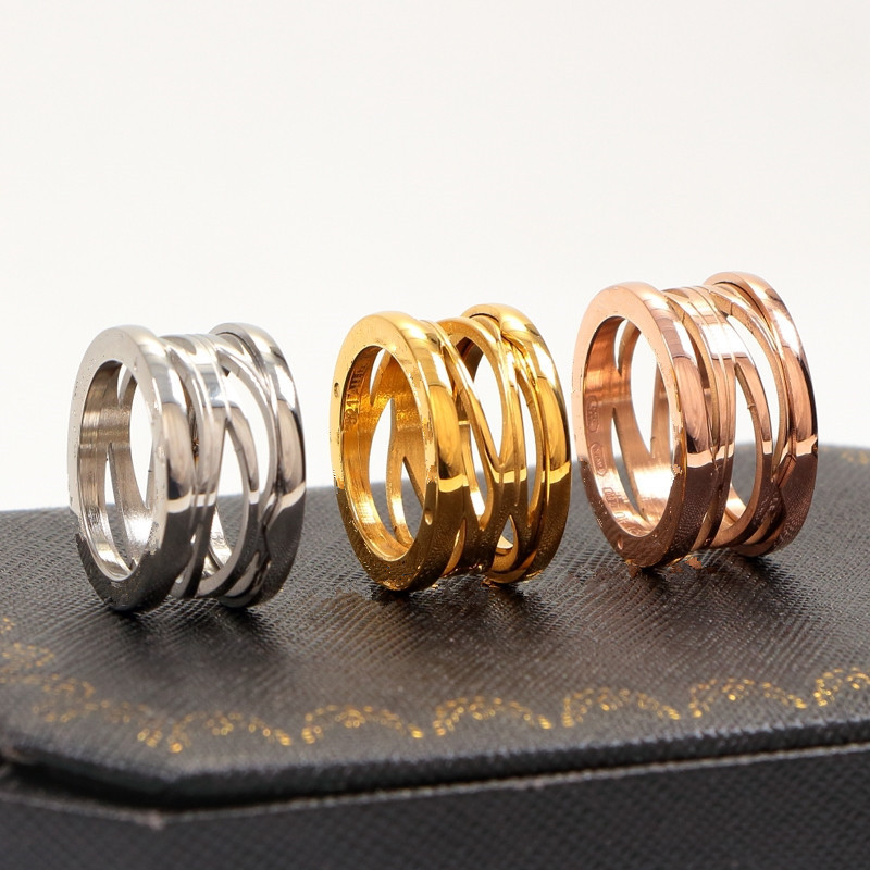 New version titanium steel hollow spring Rings for Women men bulgaria wedding Engagement ring fine Jewelry never fade
