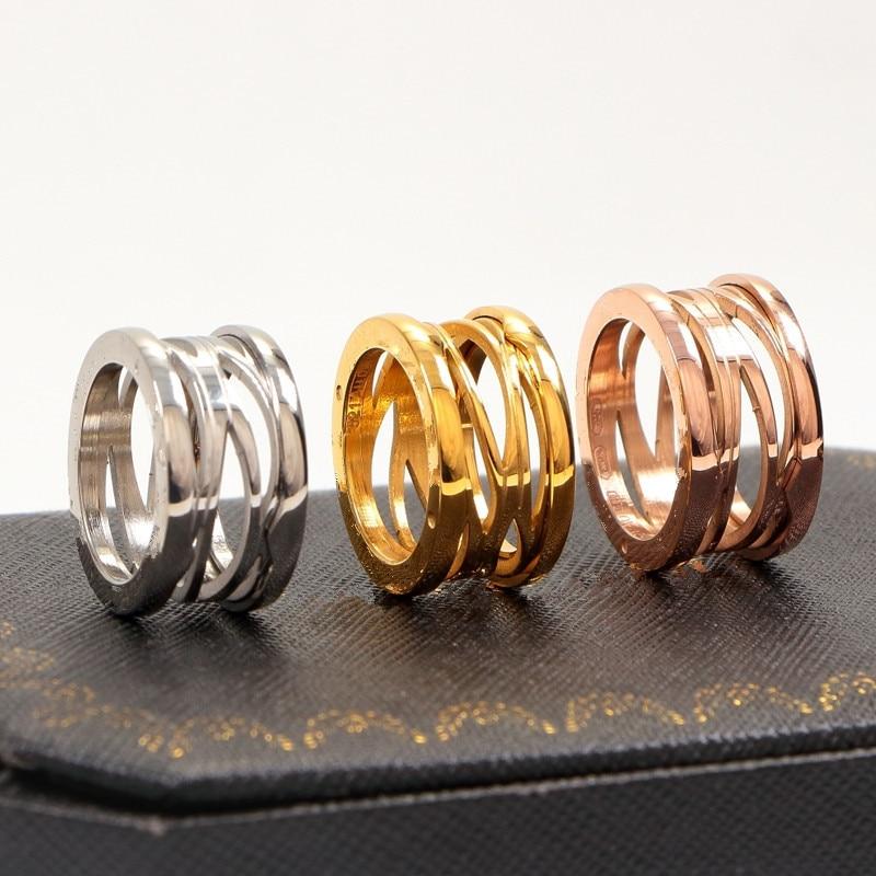 New version titanium steel hollow spring Rings for Women men wedding Engagement ring fine Jewelry never fade punk style titanium steel hollow out ring for men