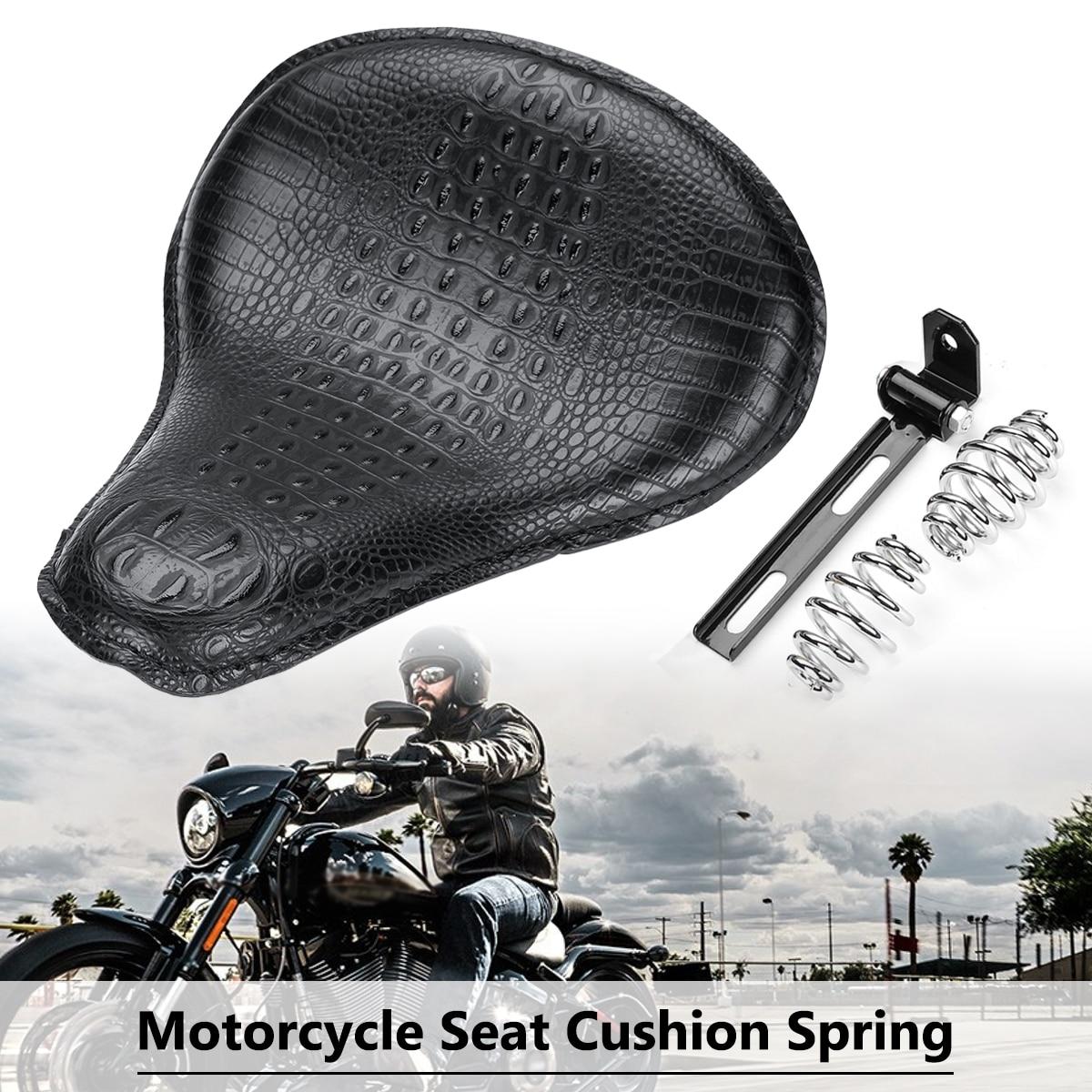 Universal Motorcycle Saddle Solo Seat Cushion Spring Crocodile Leather Style for Harley/Honda/Yamaha/Kawasaki universal motorcycle crocodile leather style saddle solo seat cushion spring for harley honda yamaha kawasaki