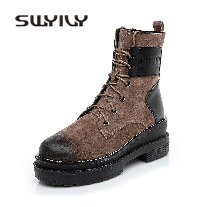 SWYIVY Genine Leather Woman Martin Boots High Top 2018 Autumn Winter Warm Fur Fashion Shoes Wedge