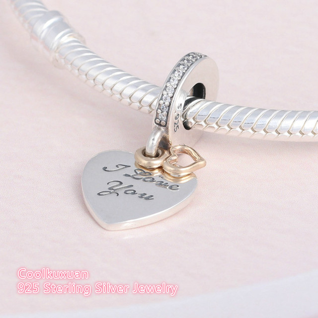 58b5993f8 Original 925 Sterling Silver Love You Forever Hanging Charms Valentine Gift  Tow Tone Heart Beads Fits Pandora Bracelets Making