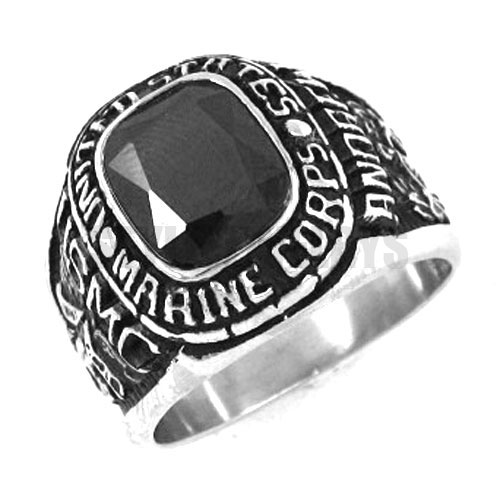 Wholesale UNITED STATES MARINE CORPS <font><b>USMC</b></font> <font><b>Ring</b></font> Black Zircon Stainless Steel Jewelry Military Motor Biker Men <font><b>Ring</b></font> SWR0157A image