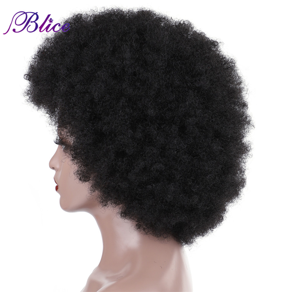 Image 3 - Blice Afro Kinky Curly Synthetic 16 Inch Wigs Kanekalon Heat Resistant Africa American Cosplay Daily Big Hair WigSynthetic None-Lace  Wigs   -
