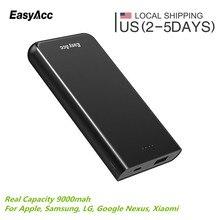 Easyacc 9000 мАч Запасные Аккумуляторы для телефонов портативное зарядное устройство Внешний Батарея Dual USB Мощность банка для iPhone Samsung HTC телефон Планшеты