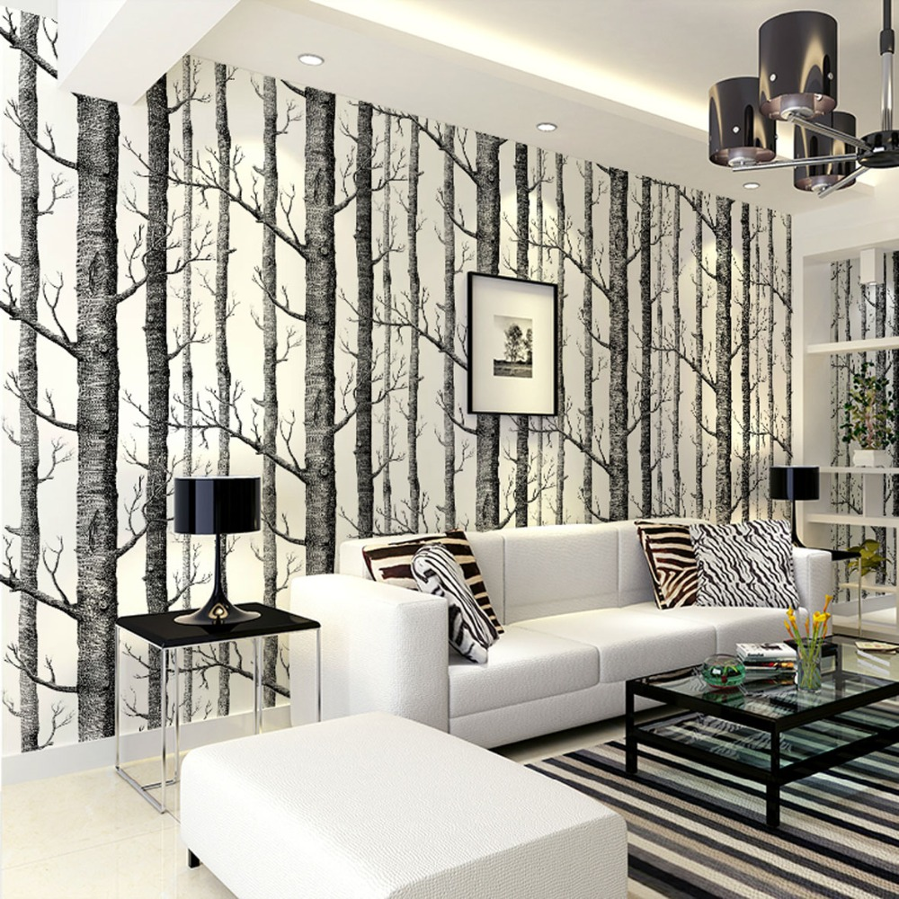 Birch tree pattern non woven woods wallpaper roll modern for Black and white wallpaper for walls