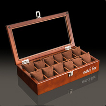 Top 12 Slot Brand Wood Watch Box Fashion Black Storage Cases With Pillow And Lock Display Gift Case W042