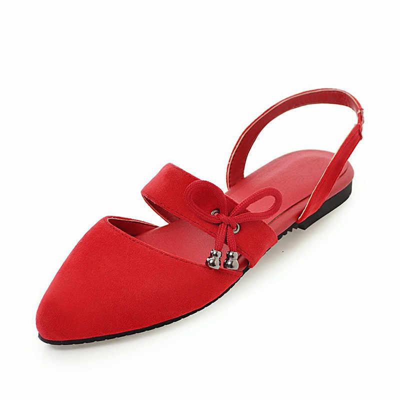 KARINLUNA yeni moda artı boyutu 28-52 düz sivri burun papyon ayakkabı kadın rahat parti ofis sıcak satış yaz sandalet