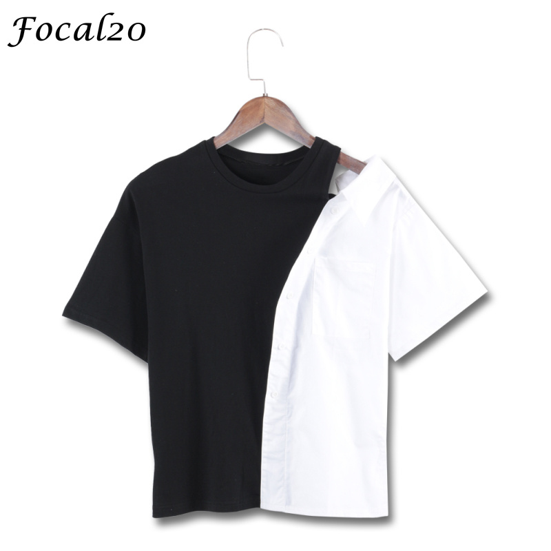Focal20 Harajuku Off Shoulder Women T-shirt Summer Short Sleeve Contrast Color Irregular T Shirt Tee Top Streetwear