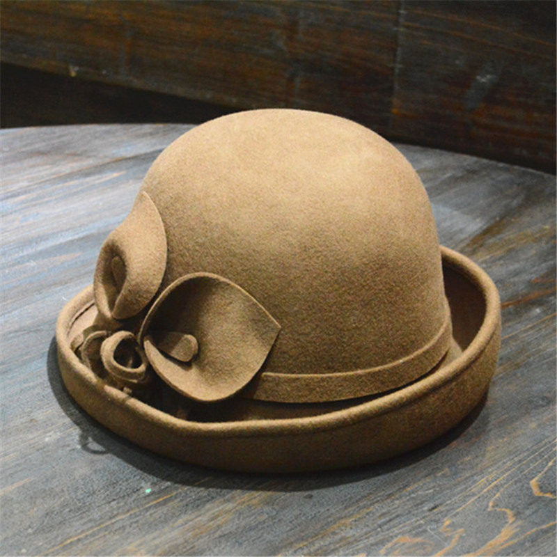 LEAYH Brand New Horseshoe Lotus 100 Wool Felt Fedoras Flower Cupola Frilled Hats Women Female Fashion Caps in Women 39 s Fedoras from Apparel Accessories