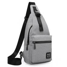 Casual Männer Hüfttasche Oxford Gewebe Licht Gewicht Grau Brust Pack Marke Mode Crossbody Sling Tasche mit Schlitz Tasche