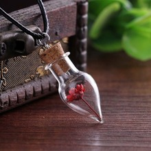 Fresh Fashion Style Pendant Necklace Dry Natural Little Daisy Flowers Inside Glass Conical Flask Spheres Wishing Bottle Sweater 2000ml glass erlenmeyer flask 2000ml glass conical flask laboratory use 2000glass triangle flask boro glass gg17