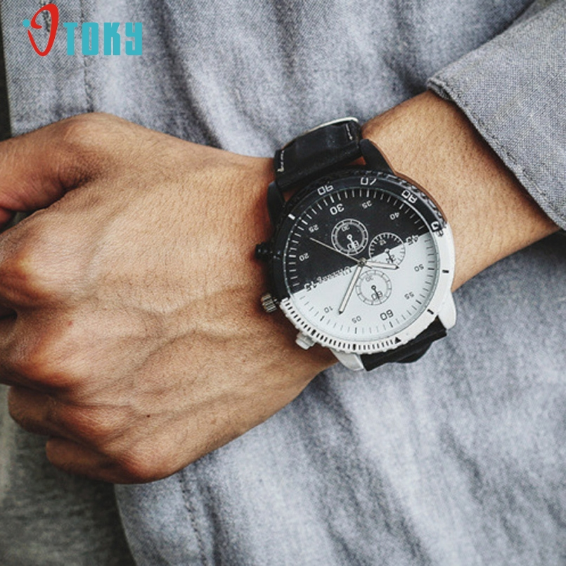 Excellent Quality Casual Mens Watches Top Luxury Leather Business Quartz-Watch Men Wristwatch Relogio Masculino Fashion 2017