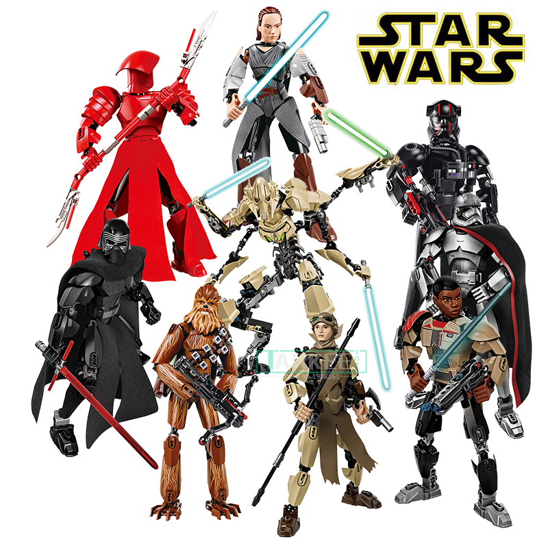 KSZ Star Wars Buildable Action Figure Model Building Blocks Darth Vader Finn Rey Poe K-2SO Jango Fett General Grievous toys Gift ksz326 star wars rogue one toys jango phasma jyn erso k 2so darth vader general grievous figure toy building blocks toys