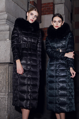 2015 High Quality Large Fur Collar Medium-long Thickening Over-the-knee Slim Long Down Coat For Female new arrival 2015 hotsale design female medium long down coat thickening large fur collar women s brand outerwear high quality