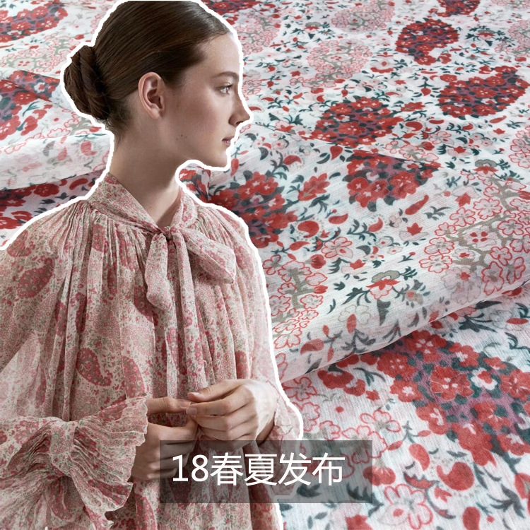 2018 spring and summer new European and American fashion digital printing fabric women s chiffon floral