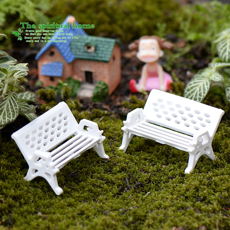 3 Pcs White Park Bench Seat Micro Landscape Chair 1.5cm 2.5cm And 3cm Decor Crafts DIY Miniature Garden Fairy Garden Supplies