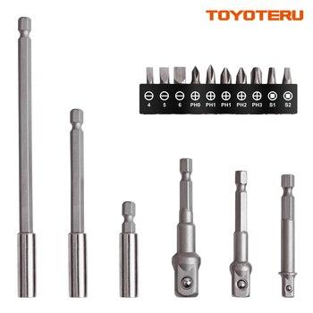 TOYOTERU 16 Pcs Buchse Adapter & Bit Set mit Bit Verlängerung Halter für Hand Fahrer oder Power Tools